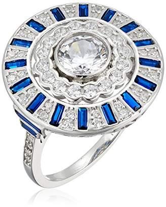 Sterling Blue Cubic Zirconia Spinel Shield Motif Ring