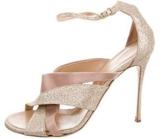 Sergio Rossi Glitter Crossover Sandals
