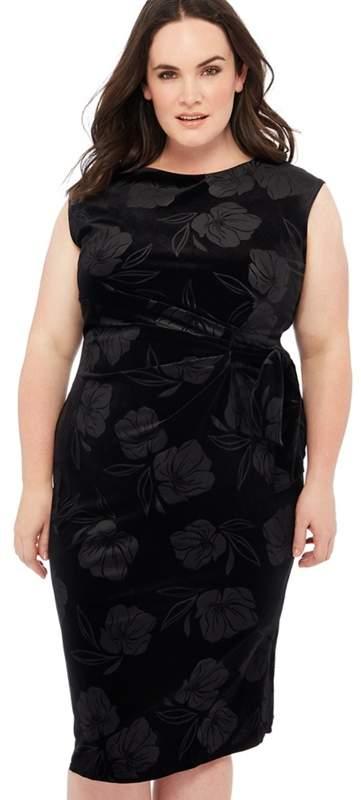 The Collection - Black Floral Velvet Embossed Dress