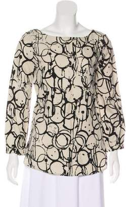 Kelly Wearstler Printed Long Sleeve Blouse Tan Printed Long Sleeve Blouse
