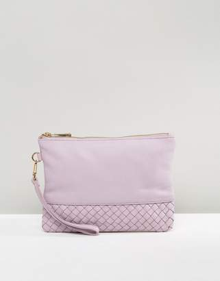 Oasis leather Patched Weaved Flossy Clutch $35 thestylecure.com