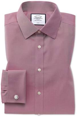 Charles Tyrwhitt Classsic Fit Non-Iron Red Twill Cotton Dress Shirt French Cuff Size 15.5/32