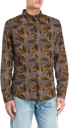 Desigual Stripe Leaf Button-Down Shirt