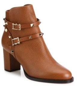 Valentino Rockstud Pebbled Leather Block Heel Booties