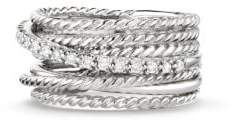 David Yurman Crossover Wide Ring With Diamonds $825 thestylecure.com