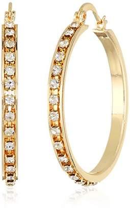 T Tahari Essentials Women's Hoop Earrings With Crystal Stones