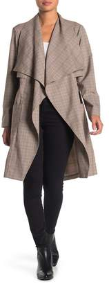 Cupcakes And Cashmere Berlin Plaid Draped Trench Coat