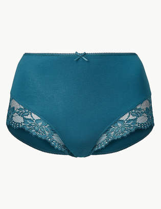 Marks and Spencer Cotton Rich Lace Cuffed Full Briefs