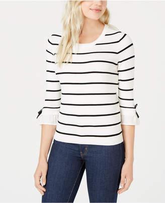 Maison Jules Striped Bow-Trim Sweater