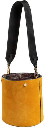 Marni Small Suede Bucket Bag W/ Elaphe Detail