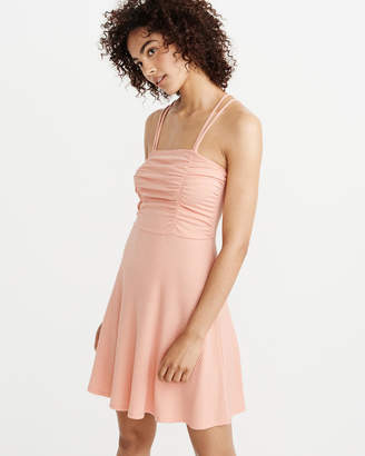 Abercrombie & Fitch A&F Women's Ruched Knit Dress in PEACH - Size XL Petite