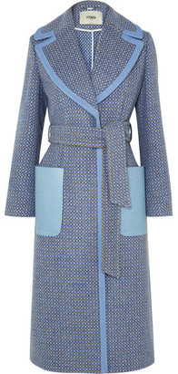 Fendi Belted Canvas And Leather-trimmed Wool-blend Twill Coat - Blue