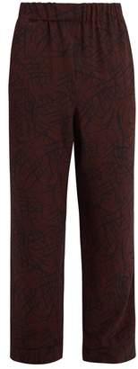 Raey Squiggle Print Silk Crepe Pyjama Trousers - Mens - Burgundy Print