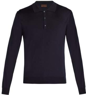 Altea Merino Wool And Silk Blend Polo Shirt - Mens - Navy