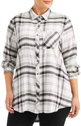 a843a51e8dc Angels Women s Plus Size Plaid Mixed Media Tunic Shirt