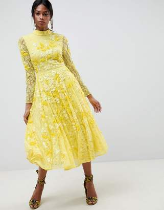 Asos Edition EDITION All Over Lace Embellished Midi Dress