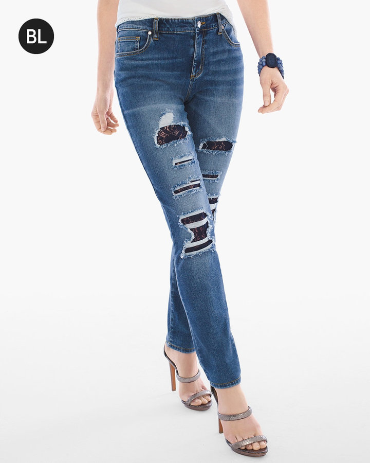 Chico'sDestructed Lace-Detail Jeans