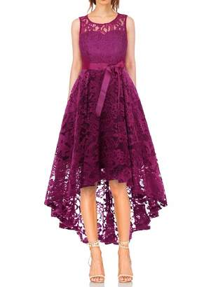 MONYRAY Women's Floral Lace Sleeveless Hi-Lo Cocktail Bridesmaid Formal Dress