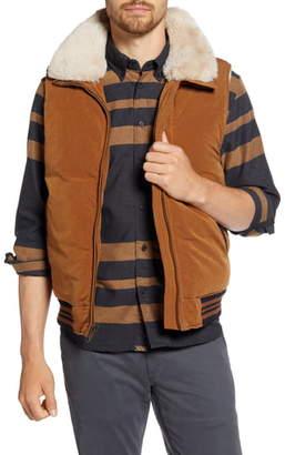 Billy Reid Varsity Faux Fur Trim Down Vest