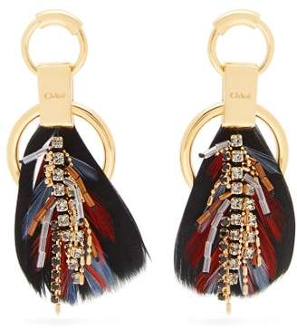 Chloé Crystal Embellished Feather Earrings - Womens - Black