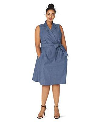 Anne Klein Women's Size Plus Chambray Notch Collar WRAP Dress