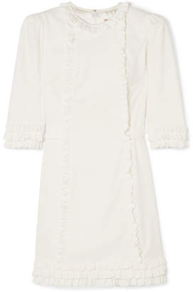 The Vampire's Wife Mini Festival Ruffle-trimmed Cotton-corduroy Dress - White
