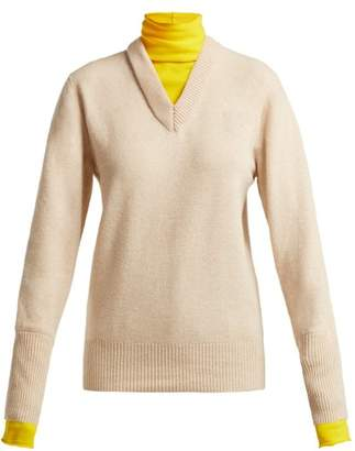 Joseph High Neck Contrasting Sweater - Womens - Beige Multi