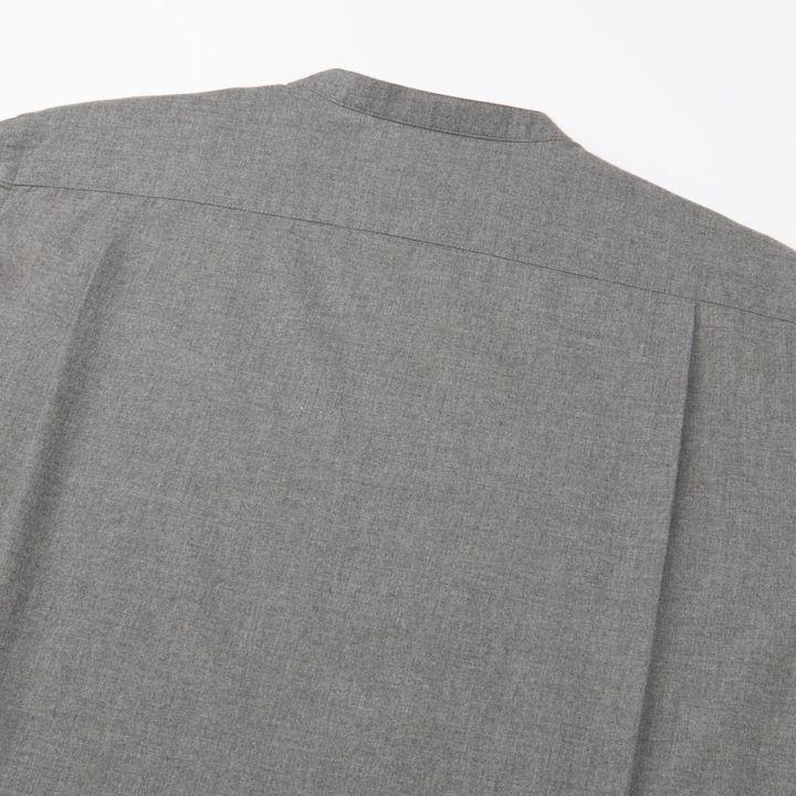 Men Flannel Stand Collar Long Sleeve Shirt 9