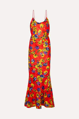 ATTICO Floral-print Satin-jacquard Maxi Dress - Red