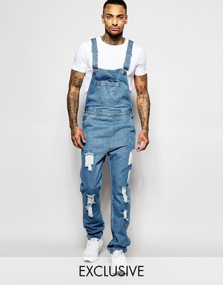 Liquor & Poker Overalls Straight Fit Extreme Rips Stonewash $72 thestylecure.com