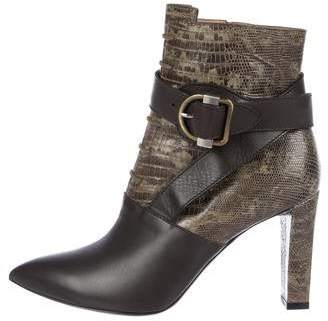 Balenciaga Pointed-Toe Snakeskin Ankle Boots