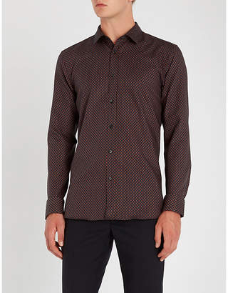 HUGO Contrast-patterned extra-slim-fit cotton-poplin shirt