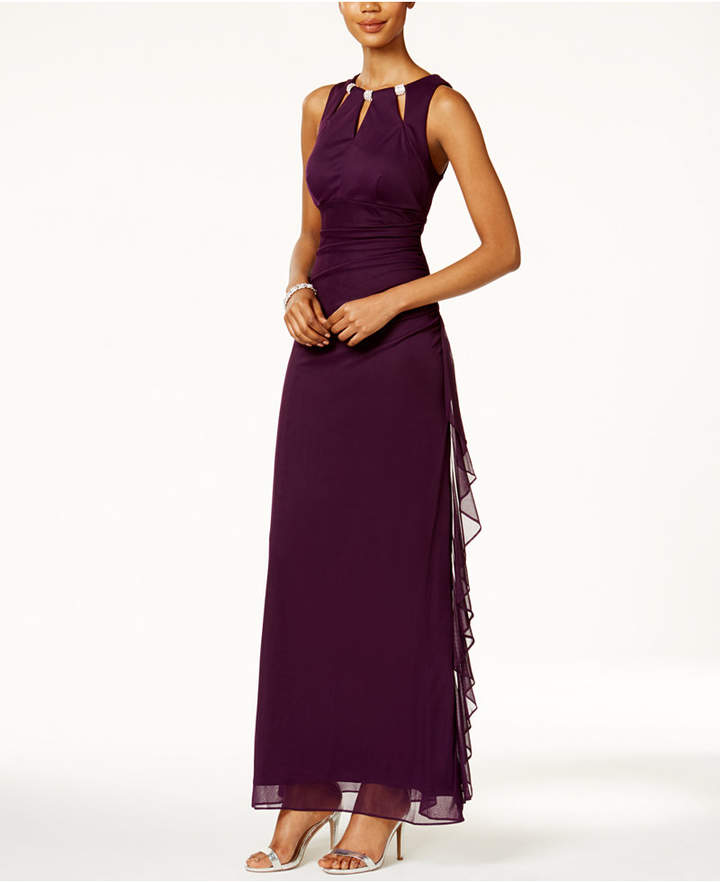 B&A by Betsy and Adam Embellished Keyhole Ruched Gown 3