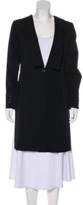 Issey Miyake Wool Knee-Length Coat Black Wool Knee-Length Coat