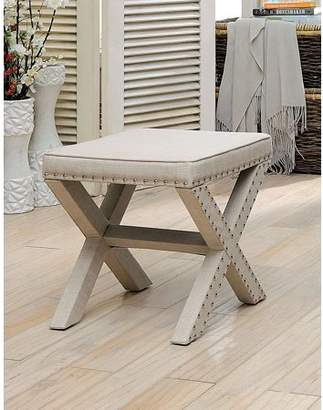 BEIGE Furniture of America Tarino Faux Linen Nailhead Ottoman