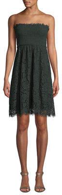 Velvet by Graham & Spencer Strapless Lace Smocked Mini Dress