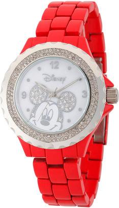 DISNEY Disney Womens Mickey Minnie Red And Silver ToneGlitz Bracelet Watch $59.99 thestylecure.com