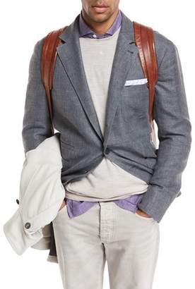 Brunello Cucinelli Linen-Blend Hopsack Sport Jacket