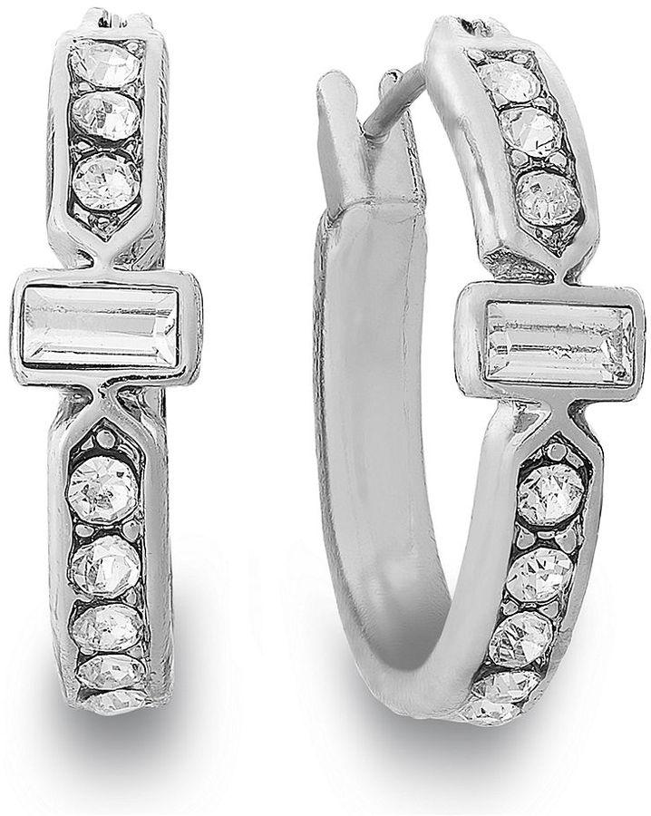 Charter Club Silver-Tone Crystal Small Hoop Earrings