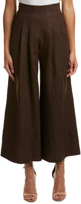 Lafayette 148 New York High-Waisted Linen Cropped Pant