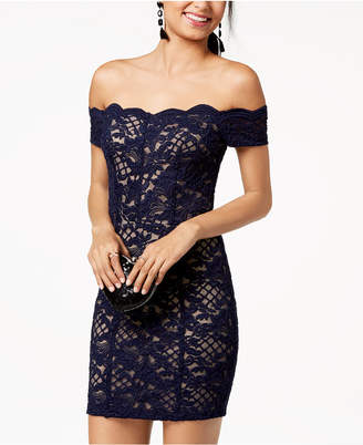Speechless Juniors' Off-The-Shoulder Lace Bodycon Dress