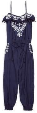 Melissa Odabash Little Girl's& Girl's Stella Embroidered Jumpsuit