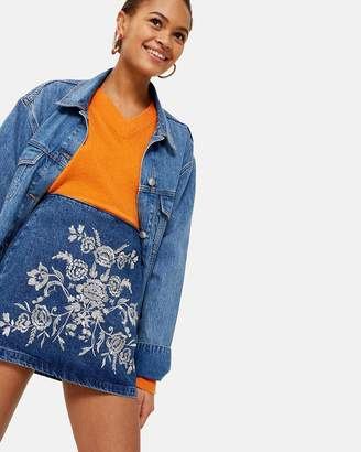 Topshop MOTO Embroidered A-Line Skirt