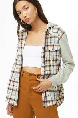Forever 21 Combo Plaid Flannel Hooded Shirt