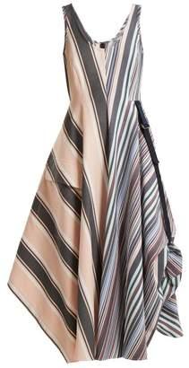 Sportmax Striped Mid Length A Line Dress - Womens - Blue Stripe