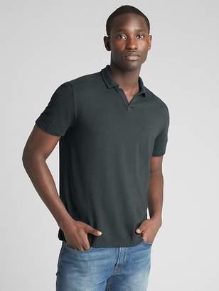 Gap Short Sleeve Polo T-Shirt in Linen-Cotton