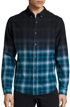 Madison Supply Men's Long Sleeve Woven Plaid Shirt
