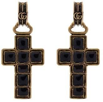Gucci black gem cross earrings