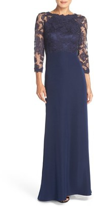 Petite Women's Tadashi Shoji Embroidered Lace Gown $256.80 thestylecure.com