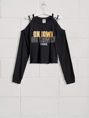 PINK University of Iowa Campus Long Sleeve Cold-Shoulder Tee